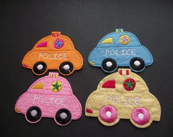 POLICE CAR PATCH,Sew On,Iron On,Applique,Police Car Iron-On,Sewing Notion,Sewing Supply,Embroidered Squad Car,Orange Police Car Patch
