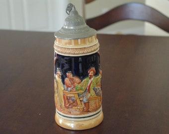 Steins, Vintage 3agerlatein Stein, 3 Men in Tavern finished hunting Pheasant or Turkey, Pewter, Ceramic, German Stein