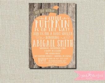 Pumpkin Baby Shower Invitation, Fall Baby Shower, Baby Shower Invitation, Baby Shower, Shabby Chic Baby Shower, Pumpkin Invitation, Pumpkin
