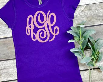 Girls Monogram T-shirt  - Girls Clothing - Personalized - Girls Initial Shirt - Gifts for her - Monogrammed T-shirt