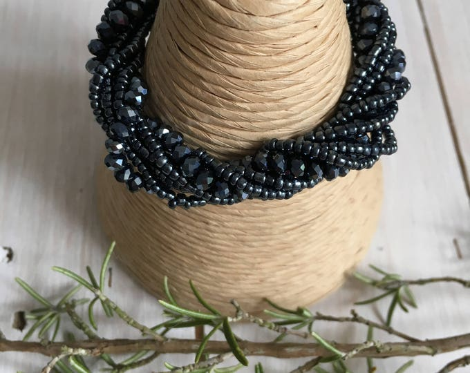 Crystal Bead Bracelet with sparkly magnetic clasp.  Dark grey, pewter, petrol blue