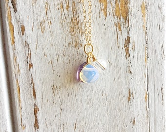 SALE! Power & Stability ~ Handmade Gold Filled Wire Wrapped Fluorite, Opalite, Clear Quartz Necklace ~ 14k Gold upon Request