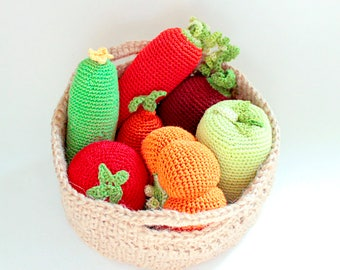 7 Vegetables Set, Grocery Play, Rustic Gift, Stuffed Play Knit Food, Vegetable, Kitchen Decor, Waldorf Toy, Housewarming Gift