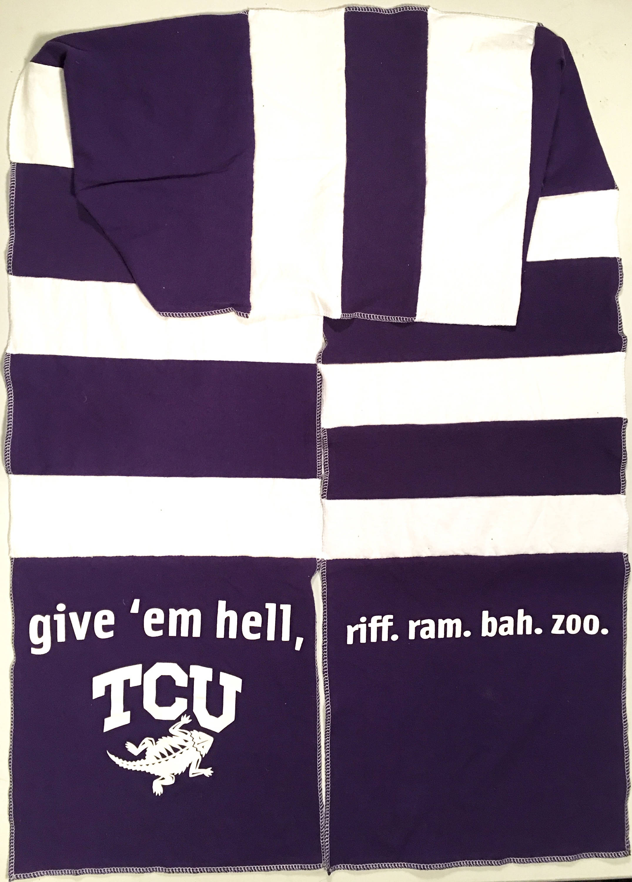Long Scarf TCU TEXAS Christian University Horned FROGS Team Spirit Upcycled Woman's Men's Unisex T-Shirt New Handmade Scarves