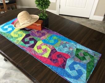 Quilted Batik Table Runner, Colorful Beachy Home Decor, Tabletop Rug Boho Hippie Decor
