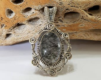 Tourmalinated Quartz, Tourmaline, Quartz, Wire Wrapped, Sterling Silver, Pendant, .925 Sterling Silver, Focal, Beading, Jewelry, Supply