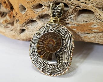 Ammonite, Tri Color, Wire Wrapped, Sterling Silver, Gold, Copper, Pendant, .925 Sterling Silver, Focal, Beading, Jewelry, Supply