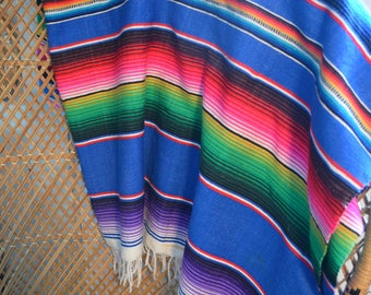 Bohemian Throw • Vintage Neon Mexican Blanket