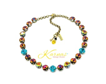 WARM AUTUMN NIGHTS 12mm Necklace Made With Swarovski Crystal *Choose Finish & Size *Karnas Design Studio™ *Free Shipping*