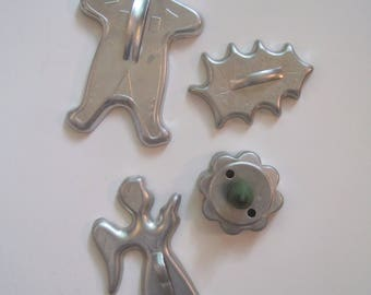 4 Cookie Cutters, Aluminum, Vintage, Green Handle, Christmas, Angel, Gingerbread Man, Holly and Berries, Biscuit,