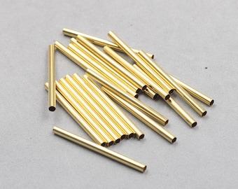 100Pcs, 40mm Raw Brass bugle Beads , hole size 2.5mm GY-S090910