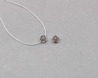 4Pcs 6mm Sterling Silver Rose Beads -- 925 Silver Antique Tibetan Style Charms Wholesale For Bridesmaid Gift Party YX-Y518