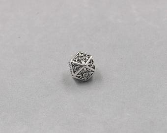 13mm Sterling Silver Beads -- 925 Silver Antique Tibetan Style Charms Wholesale For Bridesmaid Gift Party YX-Y527