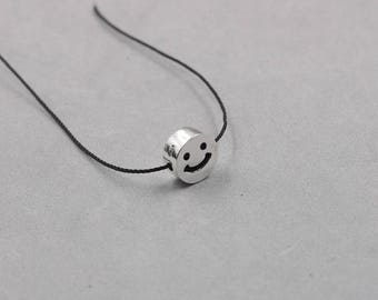 11mm Smile Face Sterling Silver Hollow Beads -- 925 Silver Bead Charms Wholesale YX-Y519