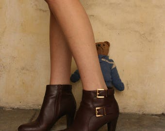 Minelli french ankle zipper brown leather boots 6.5 US / 37FR