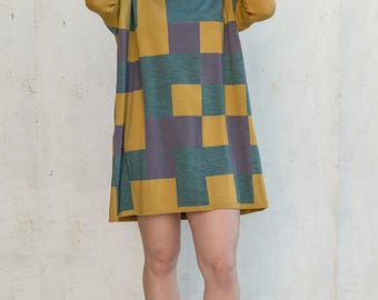 merino wool jumper/dress with squares of colors