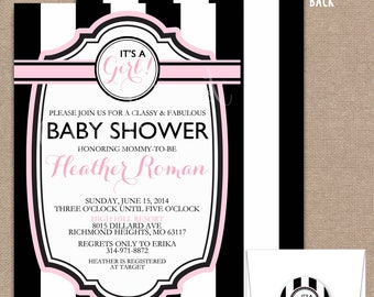 Girl Baby Shower Invitation, Baby Shower Invite, Baby Shower Invitation, Bridal Shower, Baby, Black, White, Girl, #0023