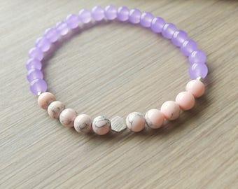 Purple Bracelet, Purple Stone, Modern Bracelet, Stone Bracelet, Fun Bracelet, Purple Jade, Bright Jewelry, Pastel Jewelry, Spring Fashion