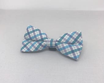 Small Blue Plaid Bowtie for Wedding Dog Outfit Pet Wedding Blue Bow Tie Dog Collar