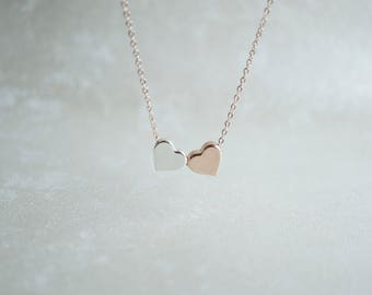 2 Heart Necklace, Rose Gold, Silver, 2 Sisters, Best Friend, Meaningful, Birthday Gift, Thank You, Mother Daughter, Delicate, Dainty, BFF