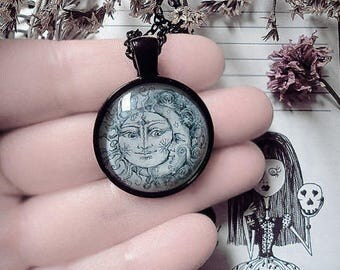 Sun and Moon Pendant, Black Pendant, Live by the Sun Love by the Moon, Galaxy Pendant, Lovers, Witch Necklace