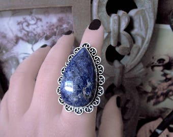Sodalite Silver Ring, Chunky Ring, Large Ring, Indigo Blue Ring, Witch Ring, Teardrop Ring, Size 8 Ring