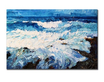 Sea Waves, Original seascape oil painting, textured ocean painting on canvas, contemporary art