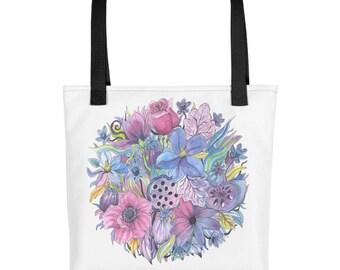 Floral Sphere Illustration Tote bag