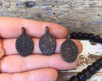 Set of 3 Small Thai Buddha Amulet Pendants / Small Brass Amulets / Amulet Pendants/ Amulet / Buddhist Amulet / Buddha Charm/ BB3