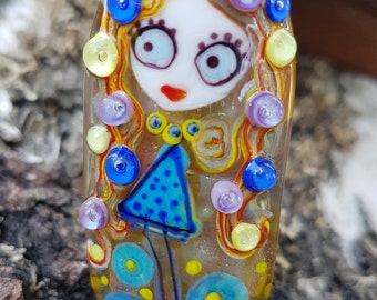 "Handmade Lampwork glass pendant, Lampwork glass focal bead, ""Girl"", artisan glass lampwork pendant unique for necklace jewelry making"