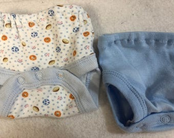 Baby Doll Diaper Covers, Panty, 15 inch AG Bitty Baby Clothes or Twin, Fits 16 inch Cabbage Patch Doll, SET of 2 for 3.00, SPORTS Balls/Blue