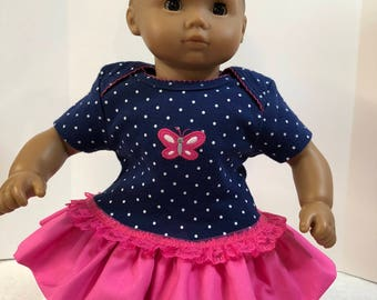 "15 inch Bitty Baby Clothes, Pretty ""PINK BUTTERFLY"" Ruffle & Lace Trim Dress, 15 inch AG Bitty Baby Doll or Twin Dolls, Love Butterflies!"