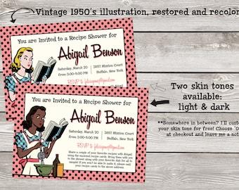 Set of 20 Printed 5x7 Recipe Shower Invitations with Restored 1950s Ephemera: Retro Baking Girl (Matching Recipe Card Available!)