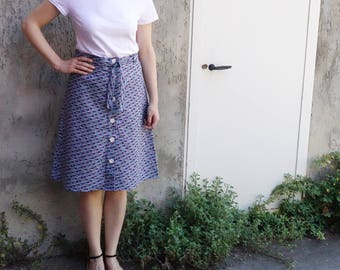 cotton skirt, button front knee length skirt with fabric belt, high waist skirt, summer skirt, blue skirt, geometric skirt, handmade skirt