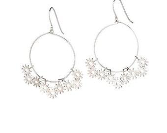 Silver Boho Hoop Earrings, Silver Statement Earrings, Silver Large Dangle Earrings, Silver Chandelier Earrings