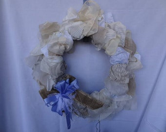 Free Shipping! Handmade Wreath made with Recycled Material Swatches with Decorative Bow