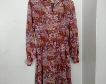 70s Psychedelic Floral Tree Goddess Print Henry Lee Dress M/L