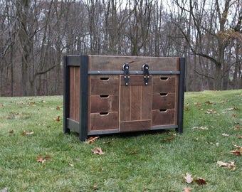 Rustic vanity 48 reclaimed barn wood vanity w barn for 48 inch barn door