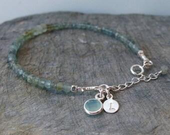 Aquamarine bracelet Gemstone bracelet Christmas gift Silver aquamarine Personalized gift Aquamarine jewelry Moss Aquamarine March Birthstone