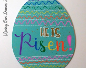 He is Risen (Hand Painted Hanging Teal Easter Egg)