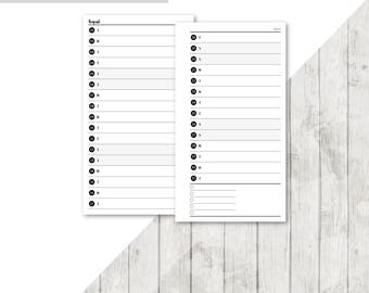 SB-PERS | 2017-2018 Horizontal Month On 2 Pages Printable Planner Insert - 2017 2018 Monthly Two Pages Personal Inserts Filofax Calendar