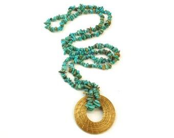 Turquoise necklace gold, boho turquoise necklace, bohemian necklace, long beaded turquoise Necklace, turquoise chips, golden grass necklace