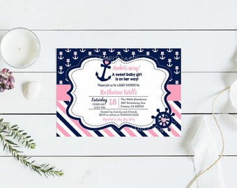 Nautical Baby Shower Invitation. Pink and Blue Nautical Printable Invitation. Baby Girl Shower. Digital File