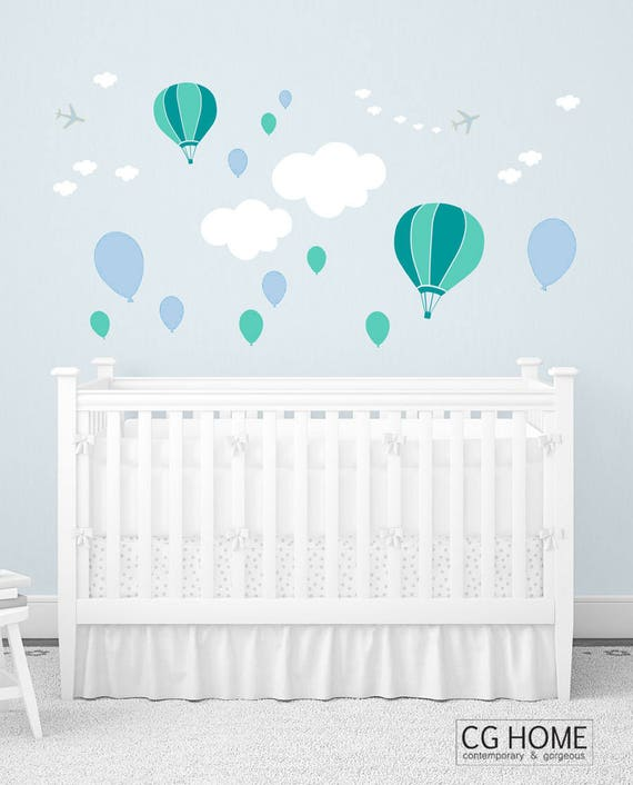Clouds Wall Decal Nursery Decor Crib Pattern Powder Blue Pastel CLOUDS for kids Wall Stickers Balloons