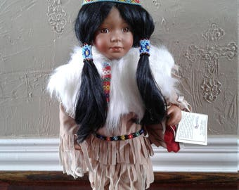 Indian doll Native American Indian doll Duck House heirloom doll Collectible Indian costume Porcelain doll Limited edition FogartyTreasures