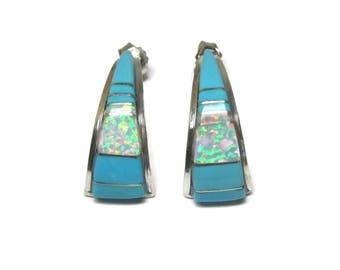 Vintage Zuni Opal Turquoise Inlay Earrings CS Lonjose