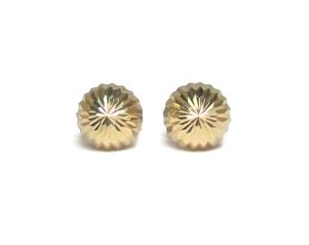 Vintage 14K Starburst Dome Stud Earrings