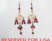 RESERVED FOR LISA< Victorian Chandelier Earrings Red, Garnet Earrings, Red Pearl, Crystal Earrings, Victorian Jewelry, Filigree Earrings