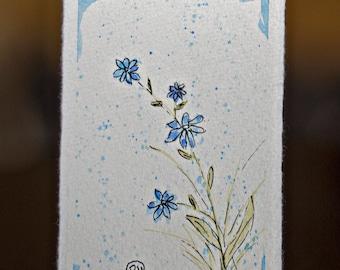 Little Blue Watercolor Wildflower