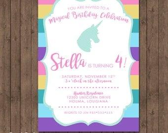 Unicorn Birthday Party, Unicorn Themed Birthday Invitation, Unicorn Rainbow Party Invitation, Magical Birthday Celebration Invitation